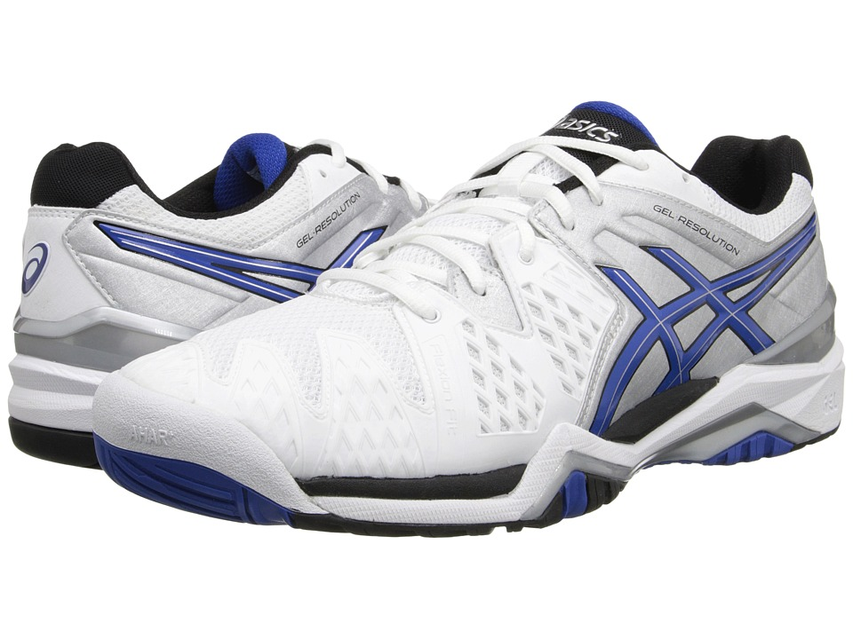 ASICS - GEL-Resolution 6 (White/Blue/Silver) Men's Shoes