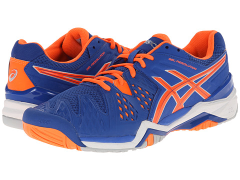 ASICS - GEL-Resolution 6 (Blue/Flash Orange/Silver) Men's Shoes