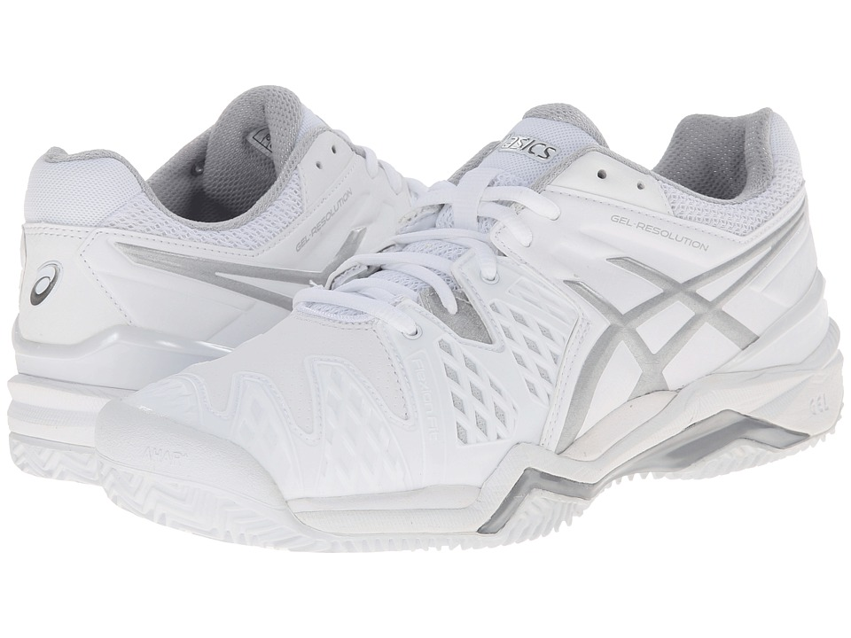 ASICS - GEL-Resolution 6 Clay Court (White/Silver) Women's Shoes