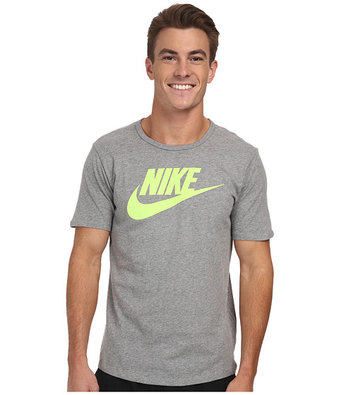 Nike - Futura Icon S/S Tee (Dark Grey Heather/Volt) Men