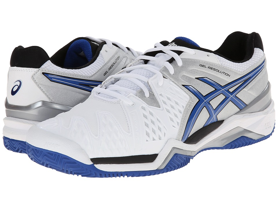 ASICS - GEL-Resolution 6 Clay Court (White/Blue/Silver) Men's Tennis Shoes