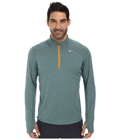 Nike - Element Half-Zip (Dark Emerald/Heather/Total Orange/Reflective Silver) Men's Long Sleeve Pullover