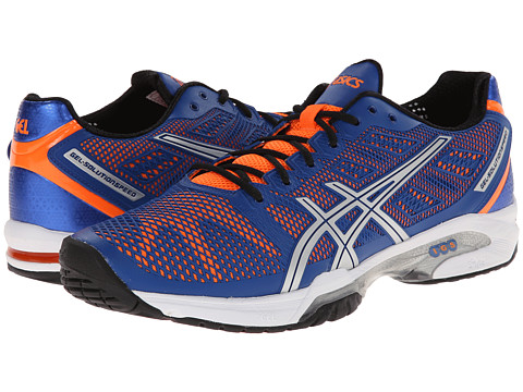 ASICS - Gel-Solution Speed 2 (Blue/Flash Orange/Silver) Men's Tennis Shoes