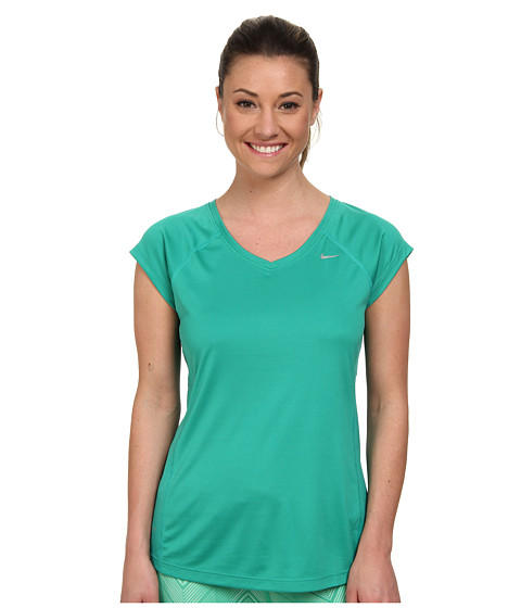 Nike - Miler S/S V-Neck Top (Emerald Green/Emerald Green/Reflective Silver) Women's Workout