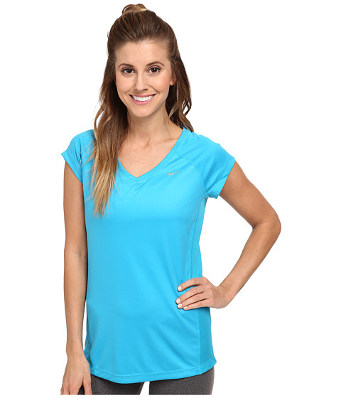 Nike - Miler S/S V-Neck Top (Blue Lagoon/Blue Lagoon/Reflective Silver) Women's Workout