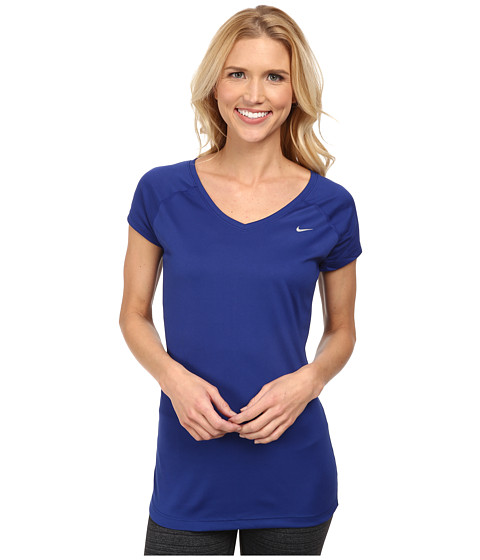 Nike - Miler S/S V-Neck Top (Deep Royal Blue/Deep Royal Blue/Reflective Silver) Women's Workout