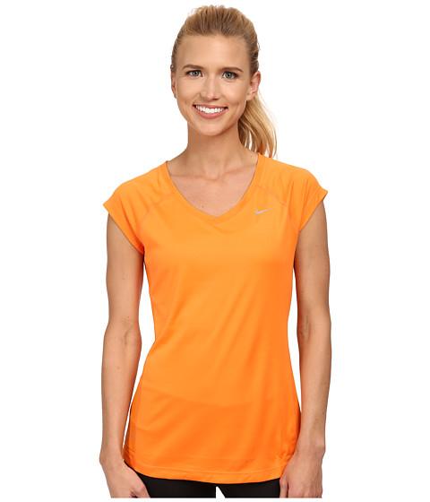 Nike - Miler S/S V-Neck Top (Bright Mandarin/Brigbht Mandarin/Reflective Silver) Women's Workout