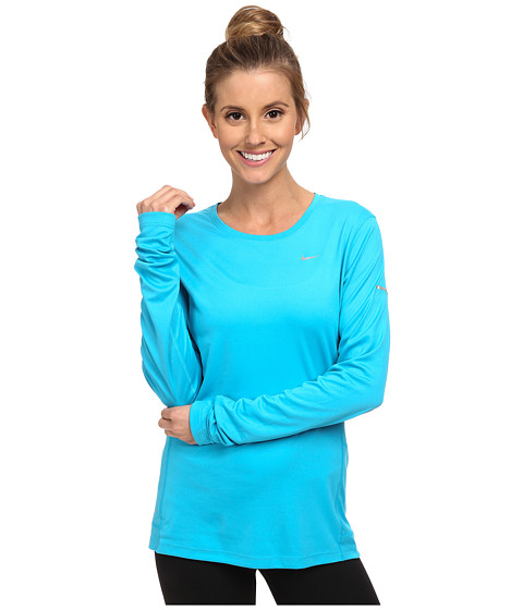 Nike - Miler L/S Top (Blue Lagoon/Reflective Silver) Women's Workout
