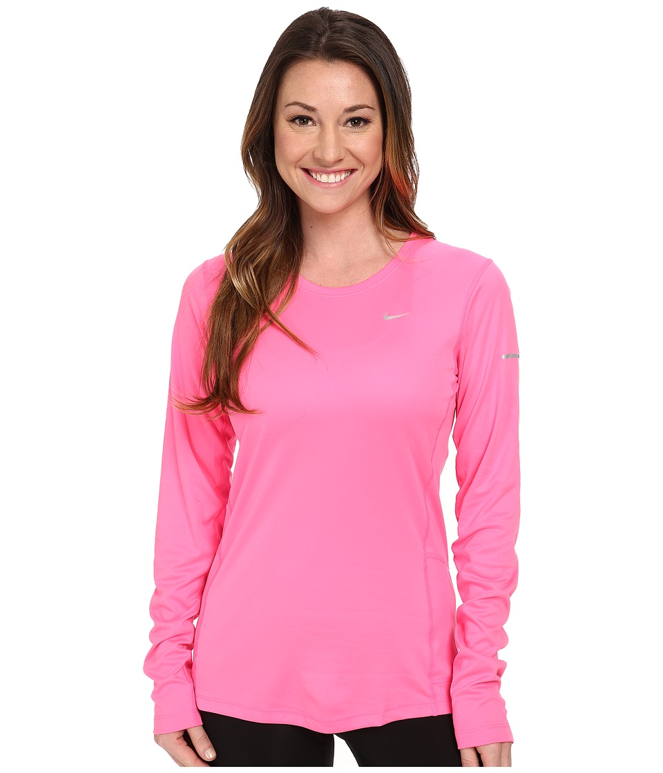 Nike - Miler L/S Top (Pink Pow/Reflective Silver) Women's Workout