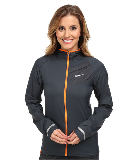 Nike - Impossibly Light Jacket (Classic Charcoal/Bright Mandarin/Reflective Silver) Women's Coat