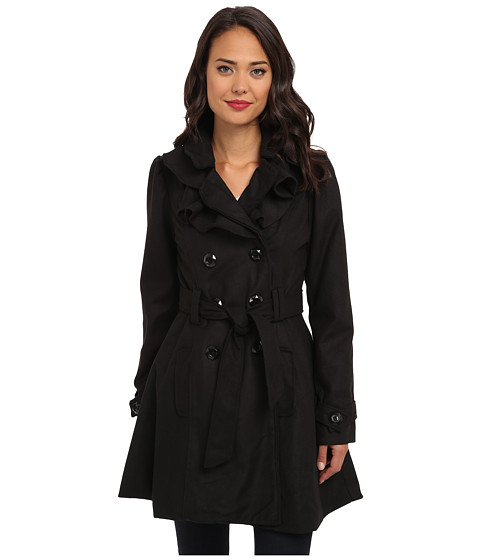 Brigitte Bailey - Double Breasted Jacket with Front Ruffles and Self Belt (Black) Women's Coat