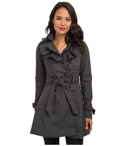 Brigitte Bailey - Double Breasted Jacket with Front Ruffles and Self Belt (Charcoal) Women's Coat