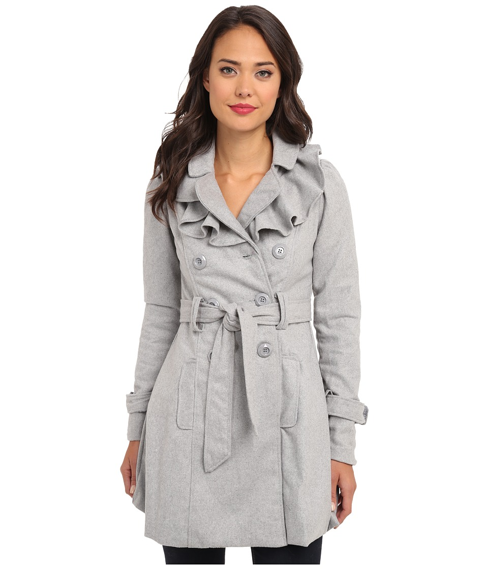 Brigitte Bailey - Double Breasted Jacket with Front Ruffles and Self Belt (Grey) Women's Coat