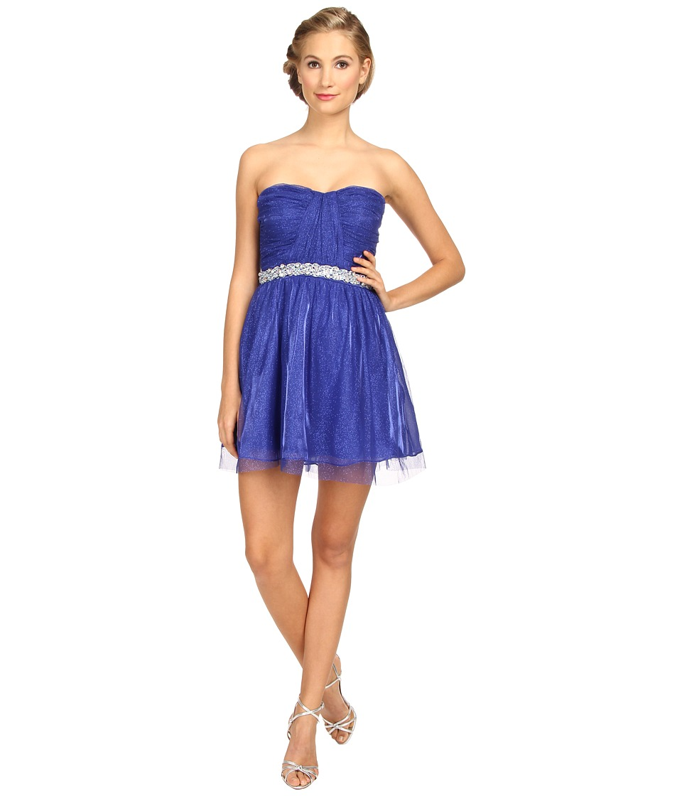 Gabriella Rocha - Tulle Party Rhinestone Trim (Saphire) Women's Dress