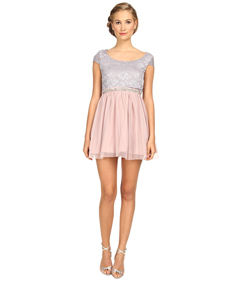 Gabriella Rocha - Sequin Mesh Party Dress (Silver/Blush) Women's Dress