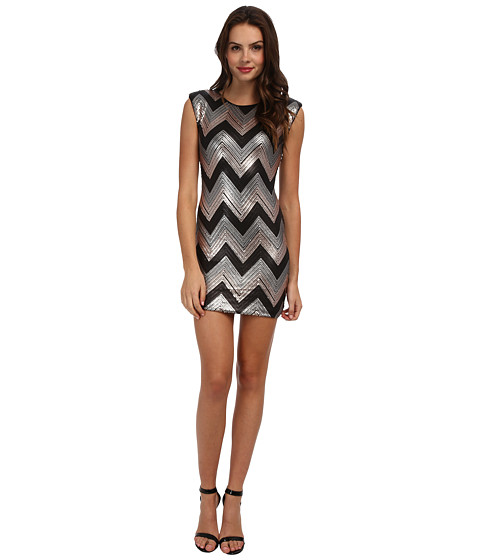 Gabriella Rocha - Sequin Chevron Sheath Dress (Black/Silver) Women
