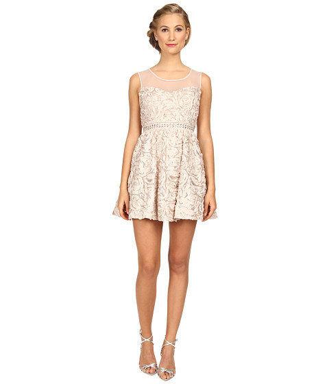 Gabriella Rocha - 3D Floral with Ilussion Party (Taupe) Women's Dress