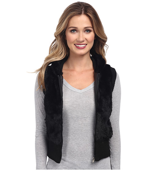 Gabriella Rocha - Faux Fur Vest with Sweater Back and Vest (Black) Women's Vest