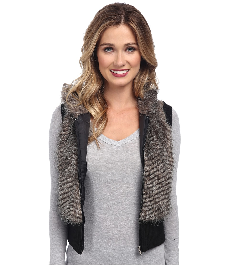 Gabriella Rocha - Faux Fur Vest with Sweater Back and Vest (Black/White) Women's Vest