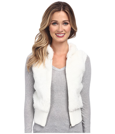Gabriella Rocha - Faux Fur Vest with Sweater Back and Vest (Cream) Women's Vest
