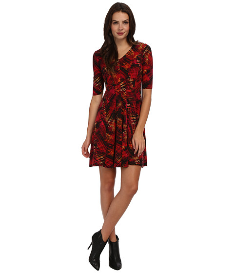 Christin Michaels - Cardinal Printed Dress (Red/Gold/Multi) Women