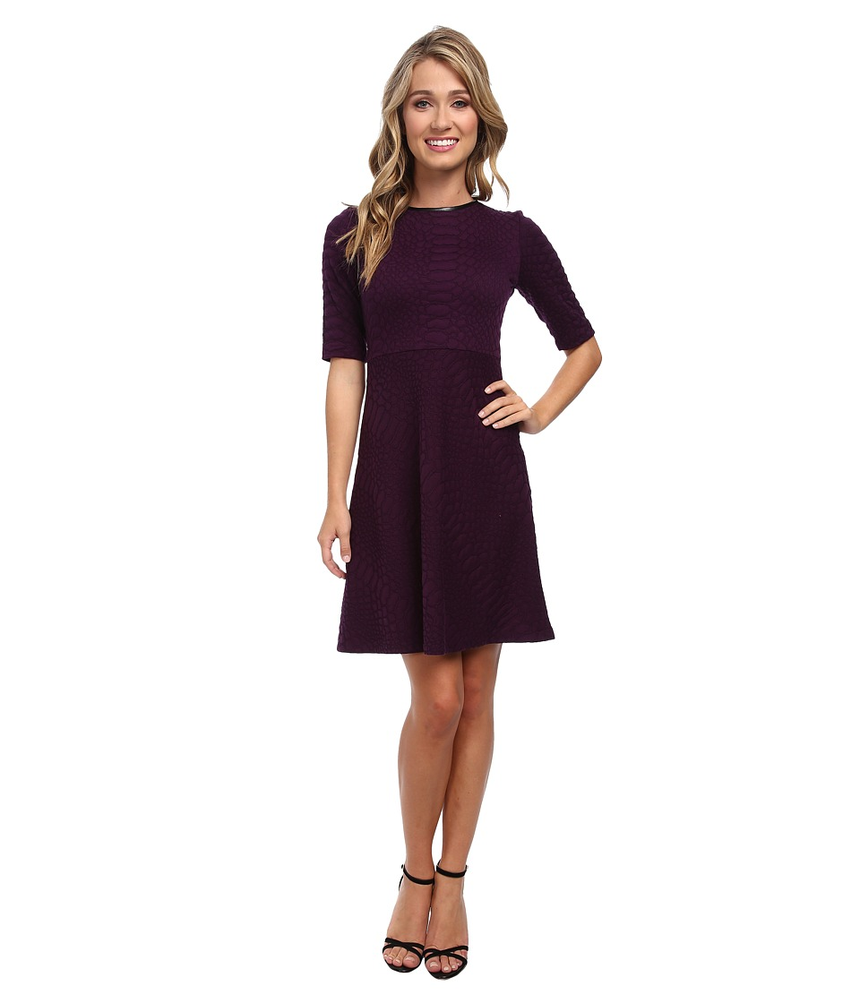 Christin Michaels - Emma Jacquard Dress (Plum/Black) Women's Dress