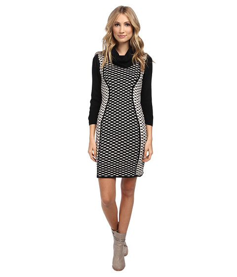 Christin Michaels - Felicia Structured Knit Dress (Black/Champagne) Women's Dress