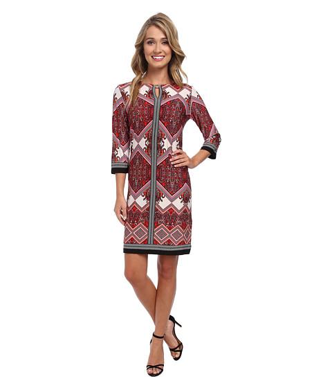Christin Michaels - Bella Rosa Print Dress (Ivory/Orange/Fuchsia) Women