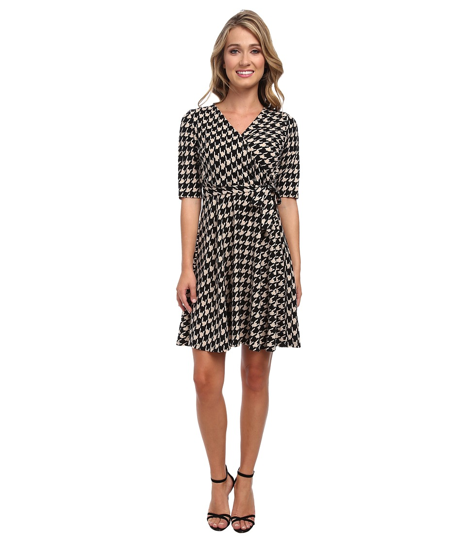 Christin Michaels - Tanagers Houndstooth Wrap Dress (Taupe/Black) Women's Dress