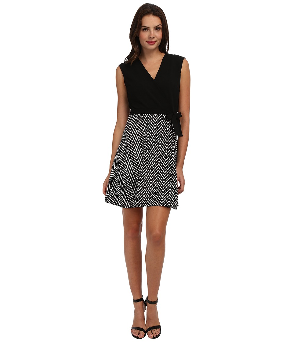 Christin Michaels - Magpie Printed Dress w/ Tie (Black/Ivory) Women