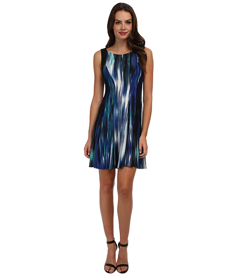 Christin Michaels - Sleeveless Jay Dress (Blue Multi/Black) Women