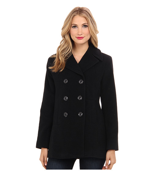 Kenneth Cole New York - Wool Peacoat (Black) Women's Coat