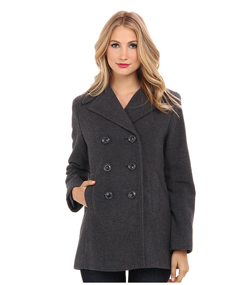 Kenneth Cole New York - Wool Peacoat (Graphite) Women's Coat