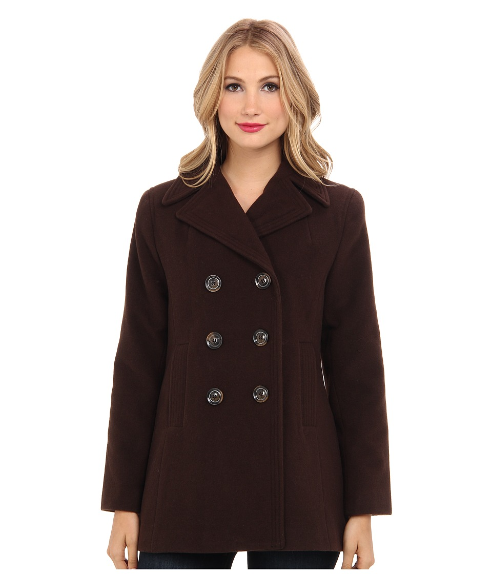Kenneth Cole New York - Wool Peacoat (Chocolate) Women's Coat