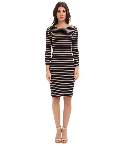 BCBGMAXAZRIA - Briza Striped Dress (Navy/Khaki Combo) Women's Dress
