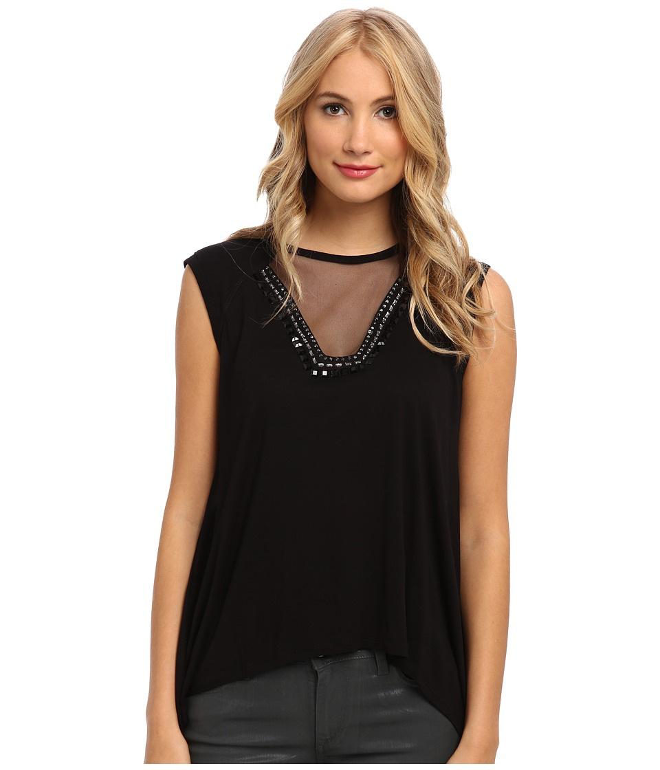 BCBGMAXAZRIA - Delaney Embellished Knit Top (Black) Women's Sleeveless