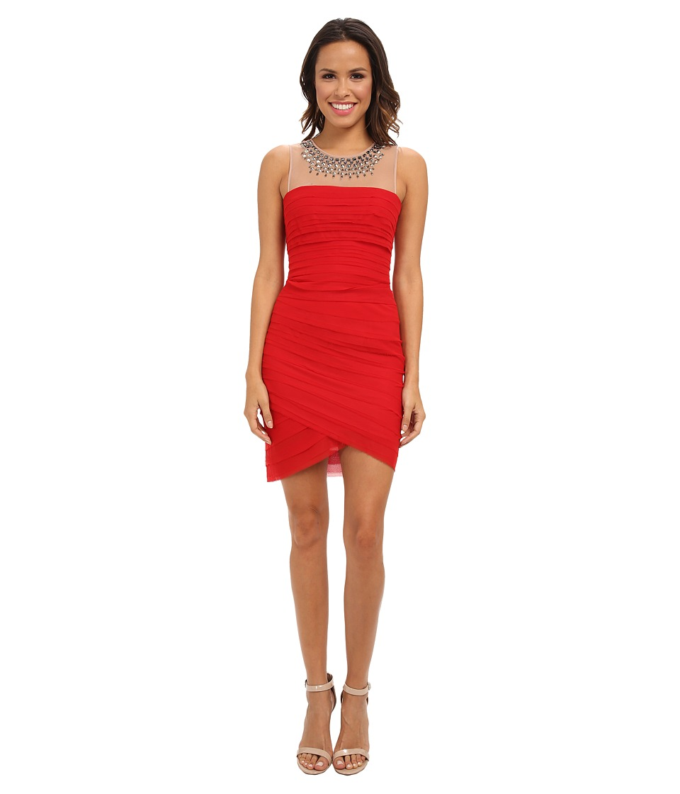 BCBGMAXAZRIA - Maia Embellished Neckline Dress (Rouge Red) Women's Dress