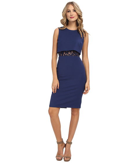 BCBGMAXAZRIA - Lace Inset Dress (Classic Blue) Women's Dress