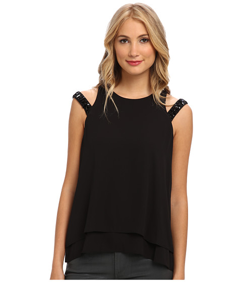 BCBGMAXAZRIA - Tarah Embellished Top (Black) Women's Sleeveless