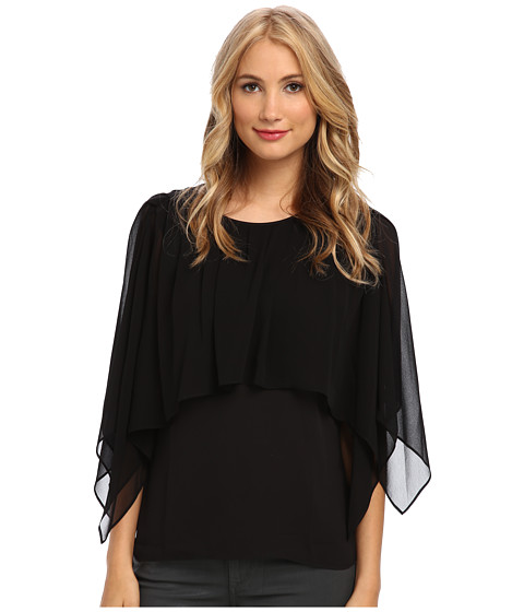 BCBGMAXAZRIA - Jeanne Cape Top (Black) Women's Blouse