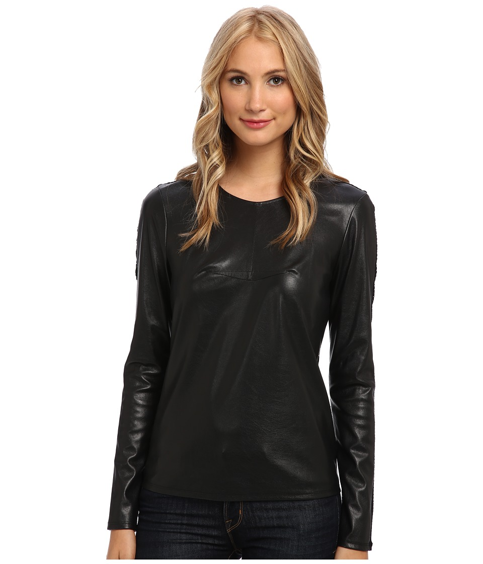 BCBGMAXAZRIA - Callan Mesh Back Faux Leather Top (Black) Women's Long Sleeve Pullover