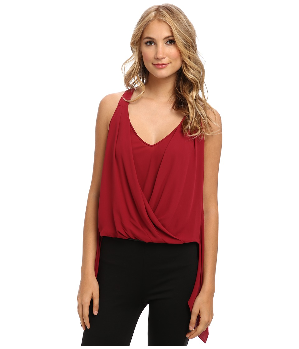 BCBGMAXAZRIA - Solange Drape Front Top (Ruby) Women's Sleeveless