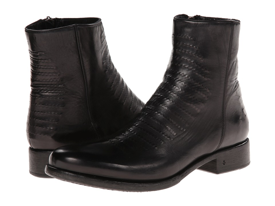 John Varvatos - Simmons (Lower Heel) Ghost Stitch Zip Boot (Black) Men
