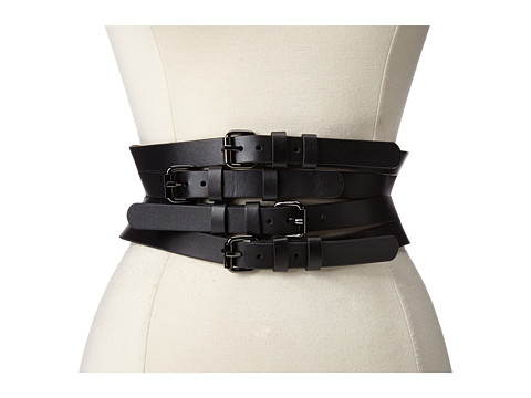 BCBGMAXAZRIA - Wide Multi Straps Buckle Waist Belt (Black) Women