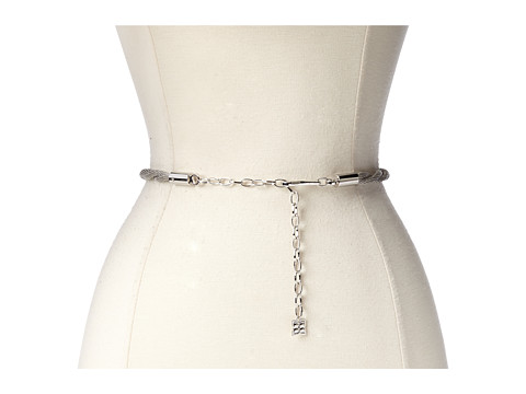 BCBGMAXAZRIA - Twisted Chain Waist Belt (Silver) Women