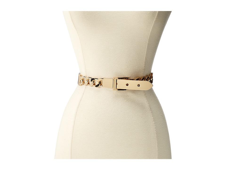 BCBGMAXAZRIA - Plate buckle Chain Front Waist Belt (Black) Women