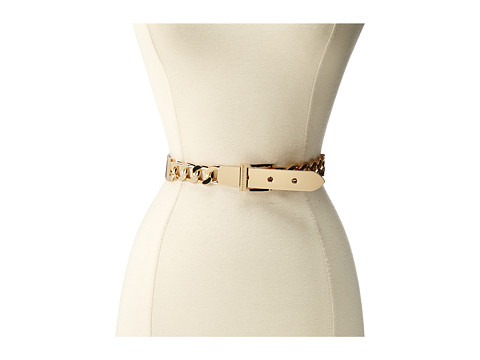 BCBGMAXAZRIA - Plate buckle Chain Front Waist Belt (Black) Women's Belts