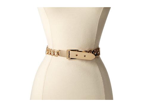 BCBGMAXAZRIA - Plate buckle Chain Front Waist Belt (Cognac) Women