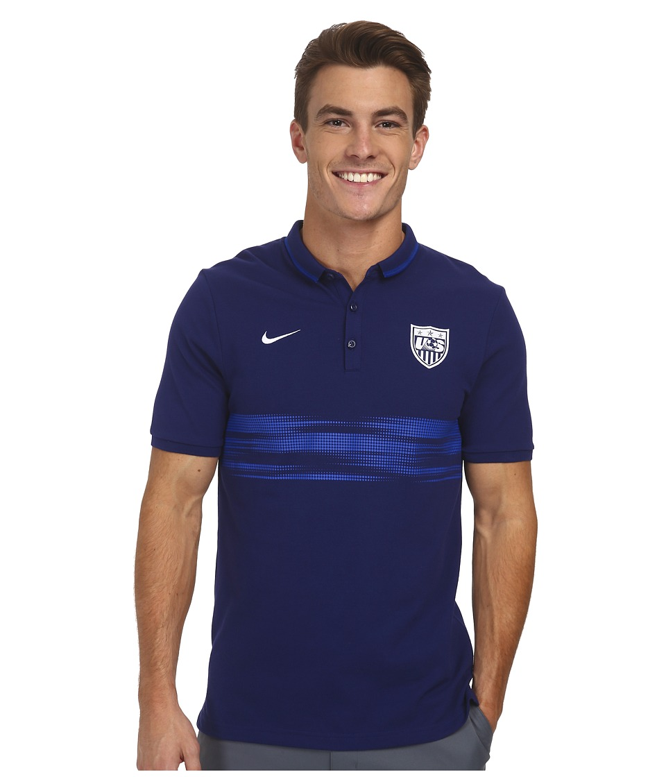 Nike - League USA Authentic S/S Polo (Loyal Blue/White) Men