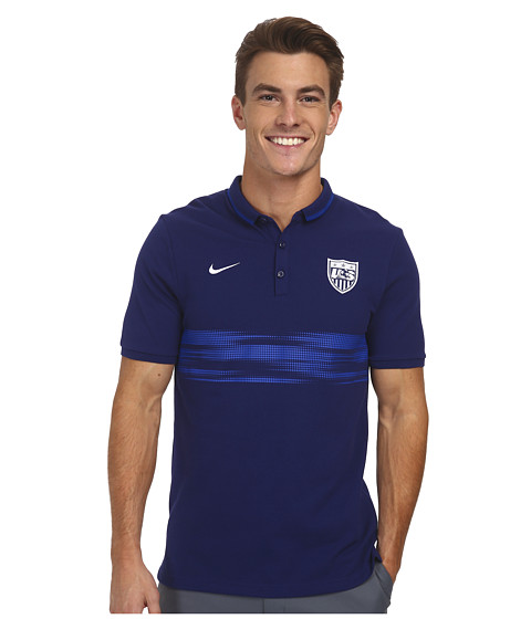 Nike - League USA Authentic S/S Polo (Loyal Blue/White) Men's Short Sleeve Pullover